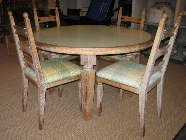 1940s FRENCH LIMED OAK DINING TABLE AND FOUR CHAIRS : frlimedoakset1 from darrelldeanantiques.com size 648 x 487 jpeg 208kB